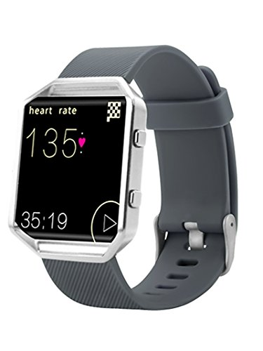 Newest Fitbit Blaze Band, BeneStellar Silicone Replacement Small Large Band Bracelet Strap for Fitbit Blaze Smart Fitness Watch, Gray, Large