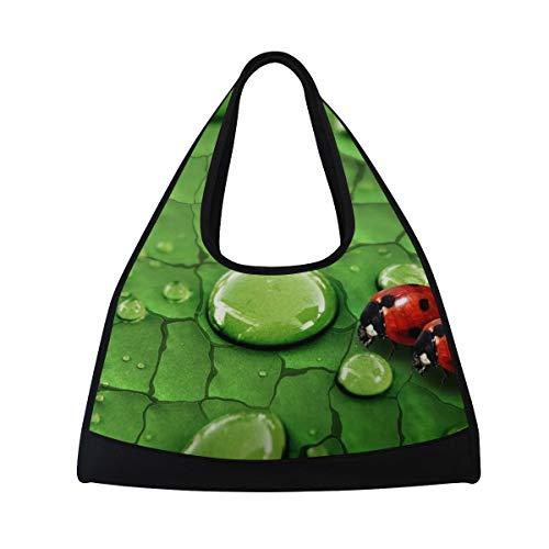 Gym Bag Raindrops On Green Leaf And Ladybug Women Yoga Canvas Duffel Bag Sports Tote Bags for Girls