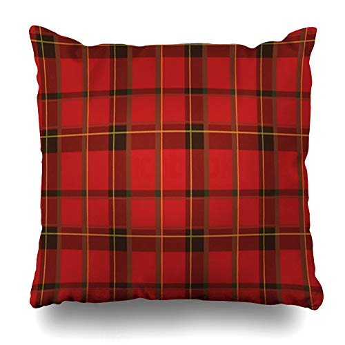 Ahawoso Throw Pillow Cover Red Yellow Abstract Plaid Pattern Brown Canvas Checked Detail Material Retro Design Decorative Sofa Cushion Case 18