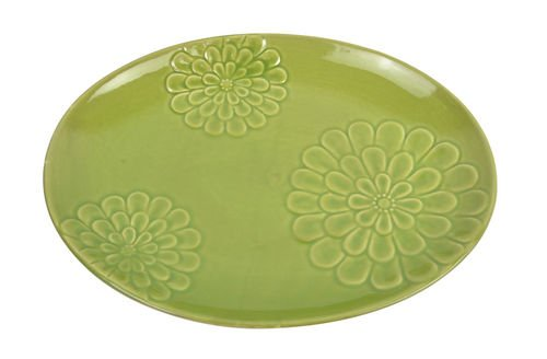Floral Design Glossy Green 16 x 12 Ceramic Serving Platter Plate
