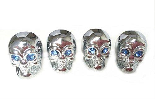 Skull Valve Stem Caps (Ywewy Skull Valve Covers,Air Stem Car Wheel Caps,Crystal eyes (Blue))