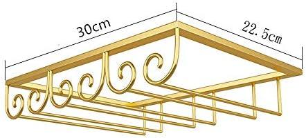 ゴブレットホルダー ハンギングラックガラスカップハンギングホルダーシェルフのキッチンキャビネットやホームバー・カフェ ワインラック (Color : Gold, Size : 30*22.5cm)