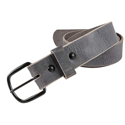 Bootlegger Leather Belt | Made in USA | Gray with Black Buckle - -