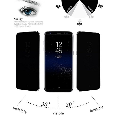 Galaxy S8 Plus Privacy Screen Protector, 9H Hardness - Bubble Free & Easy to Install – Black Tint Protector Curved Samsung Galaxy S8+ Tempered Glass Privacy Screen 2017 – Anti-Scratch - Glasses Are Tinted What