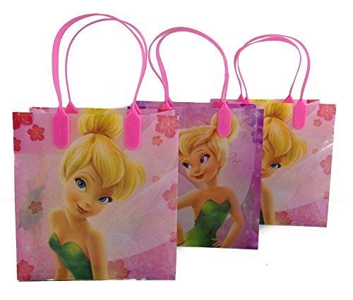 Disney Nickelodeon Marvel Birthday Goodies Gift Favor Bags Party Supplies - 12 Pieces (Tinkerbell - Pink) (Tinkerbell Goody Bag)