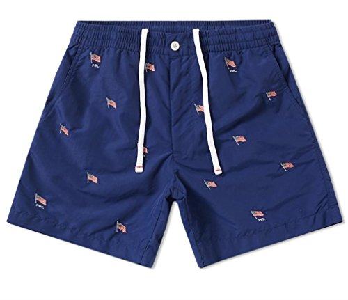 Polo Ralph Lauren Mens USA Flag Tunk Swim Shorts (X-Large) Blue