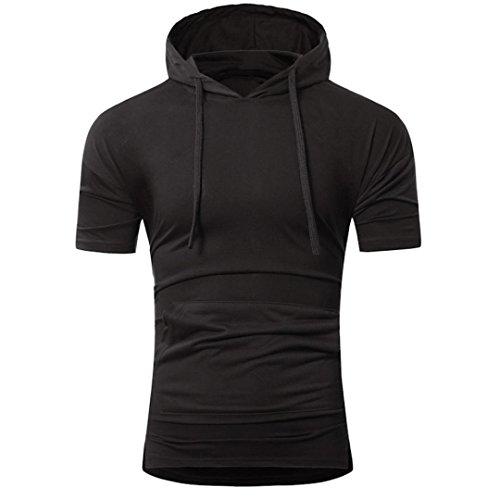 Bluestercool Été Fashion Pull à Capuche T-Shirt à Manches Courtes Pour Hommes Noir