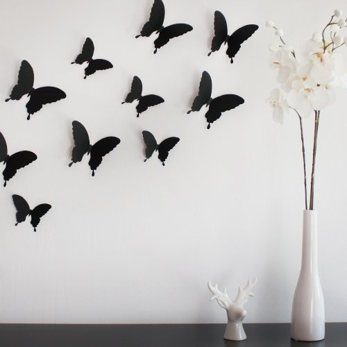 Wandkings 3D Style Butterflies in BLACK for wall decoration, 12 PCS in a set with adhesive fixing dots by Wandkings 3D-10731-12-STUECK-SCHWARZ