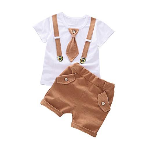 2Pcs Summer Toddler Kids Baby Boys Short Sleeve Suspender Tie Tops T-Shirt + Shorts Set Clothing Outfit Khaki ()