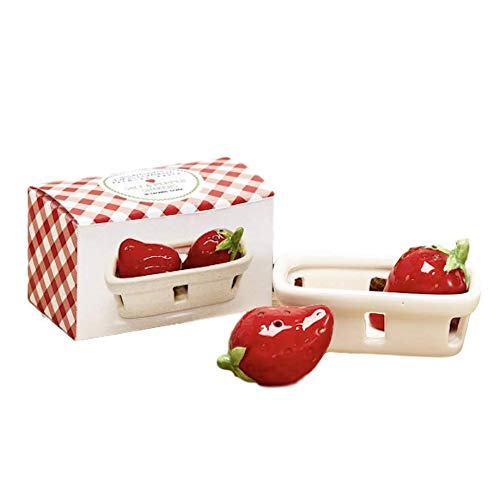- Two's Company Fresh Picked Fruit Salt and Pepper Shaker Set in Gift Box, Strawberry in Crate