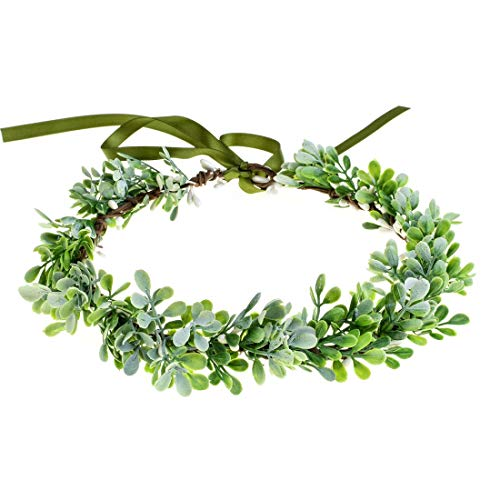 Vividsun Bridal Green Leaf Crown Bohemian Headpiece Floral Headband Photo Prop (A)]()