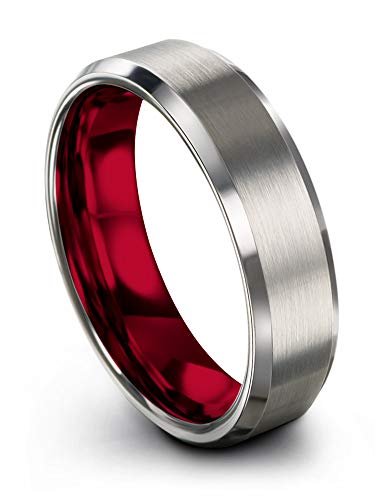 Chroma Color Collection Tungsten Carbide Wedding Band Ring 6mm for Men Women Red Interior with Grey Exterior Bevel Edge Brushed Polished Comfort Fit Anniversary Size - Collection Red Wedding