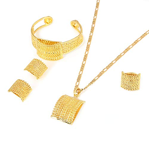 (Ethiopian Jewelry Sets Gold Color Africa Bride Wedding Habesha Eritrea Gift)