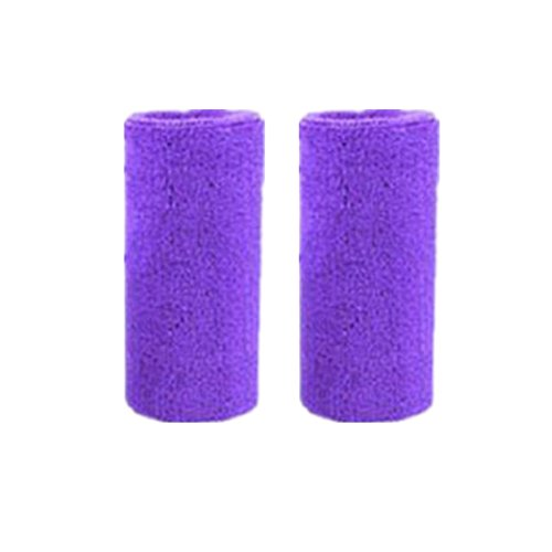 Mcolics 6' Inch Wrist Sweatband in 11 Athletic Cotton Wristbands Armbands (1 Pair) (Purple)