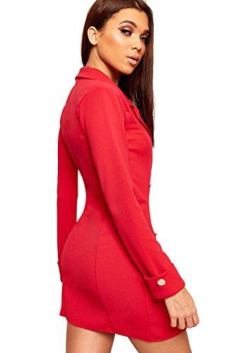 cd655e3ac04c ... WEARALL - Damen Doppelt Breasted Lang Hülle Kurz Schaltfläche Kragen  Damen Mini Blazer Kleid - 34