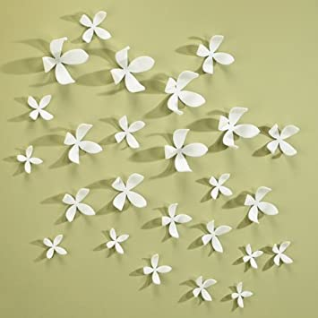 Amazon.com : White Wall Flowers Set of 25 Umbra Wall Decor : Baby