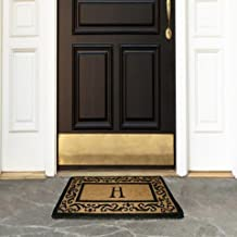 "Coco Mats N More Personalized Coir Entrance Mat / Doormat – Black Rolling Scrolls Border with Monogram 22"" x 36"""