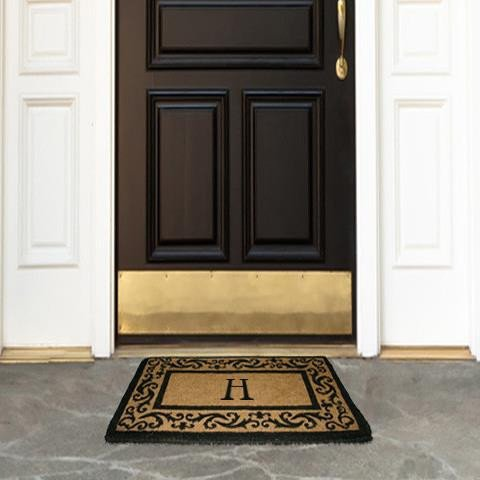 Scroll Rug Border Black - Coco Mats N More Personalized Coir Entrance Mat / Doormat - Black Rolling Scrolls Border with Monogram 22