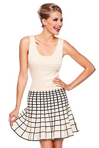 Beiges Vintage Strickkleid mit Rockteil in Karo Muster Tanzkleid ...