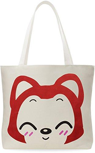 Damentasche Baumwolltasche Leinen - Beutel Shopper Bag praktische Einkaufstasche mit Motiv Fuchs