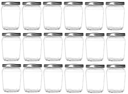 Silver Jars - Nakpunar 18 pcs 6 oz Honey Pot Glass Jars with Silver Lids - MADE IN USA - Globe, Spherical (6 oz - Honey Pot, Silver)