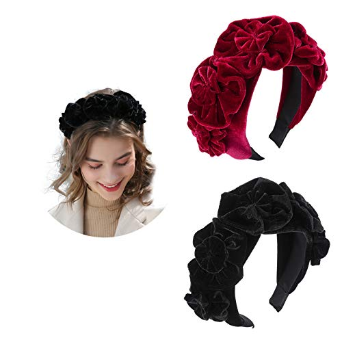 AWAYTR Velvet Flower Flock Padded Headband Five Flower Velvet Headband Spanish Vintage Style Alice Hair Band Matador Headband (Wine red+Black)