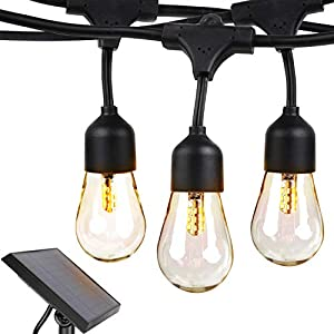 Brightech Ambience Pro – Waterproof, Solar Power Outdoor String Lights – 48 Ft Hanging Edison Bulbs Create Bistro Ambience in Your Yard – Commercial Grade, Shatterproof – 1W LED, Soft White Light