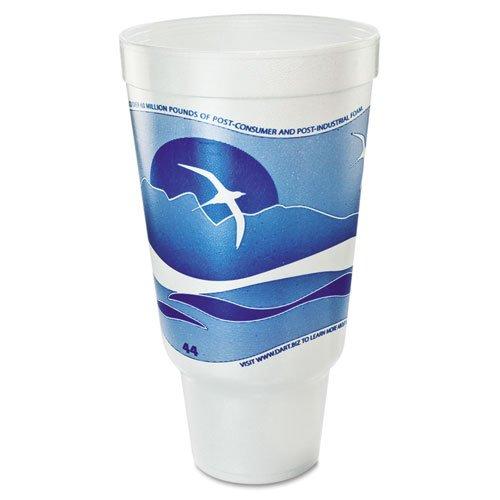 Ocean Blue Foam (Dart 44AJ32H Horizon Flush Fill Foam Cup, Hot/Cold, 44 oz., Ocean Blue/White, 15 per Bag (Case of 20 Bags))
