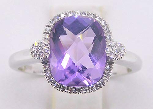 14k Gold Checkerboard Genuine Natural Amethyst Ring with Diamonds (#J589)