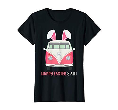 Camping Van Bunny Easter Ears Happy Easter Y'all Tshirt -