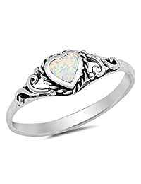White Simulated Opal Heart Promise Ring .925 Sterling Silver Filigree Band Sizes 4-10