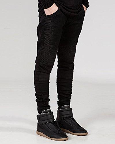 Decorative Ultime Biker Nero Pantaloni Jeans Moda Uomo Cuciture Distrutti Maschile pSxWZcOngW