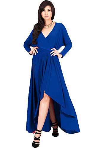 (KOH KOH Plus Size Womens Long Sleeve Sleeves Wrap Slit Split Formal Fall Winter Cocktail Sexy Flowy Evening Day Abaya Gown Gowns Maxi Dress Dresses, Cobalt/Royal Blue 3XL 22-24)