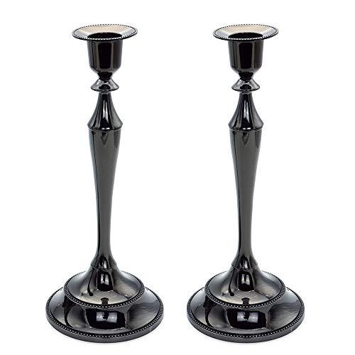 Candelabra,Metal Candle Holder, Set of 2 Candlestick,Candelabra Black 10.6 inch Tall Candle Holder Party Candelabra Candle Stand (Black Candelabra Large)