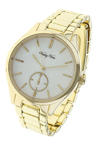 [THE JEWEL RACK SHELL DIAL BOYFRIEND WATCH (GOLD)] (Dallas Wholesaler Costumes Jewelry)