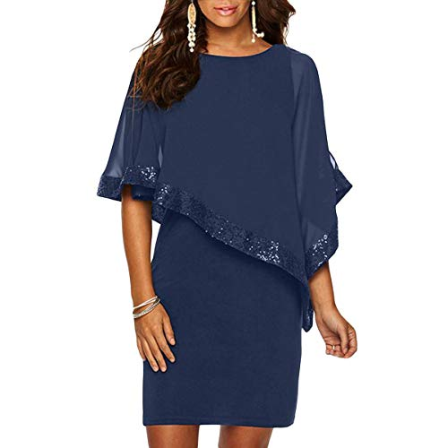 Alaster Queen Sequined Overlay Party Dress Chiffon Poncho Slit Sleeve Pencil Cocktail Mini Dress (Dark Blue,Large) ()
