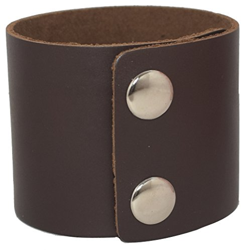 AZYOUNG Men's Black Brown White 5cm Wide Leather Bracelet Two Rows of Buckles Wristband Cuff Bangle,Length:23cm -
