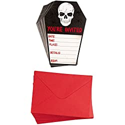 Halloween Invitation Cards - 60-Pack Halloween Party Invites, Fill-in Invitations with Envelopes, Skull Design, 4.6 x 7 Inches