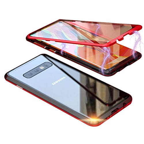 UMTITI Compatible Samsung Galaxy S10 Plus Case, Magnetic Clear Double-Sided Tempered Glass Cover with a Screen Cleaning Paper (Black-red)