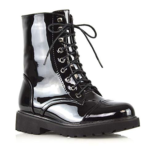 ESSEX GLAM Womens Lace Up Ankle Boots Ladies Black Patent Chunky Sole Zipper Retro Combat Goth Biker Shoes 6 B(M) US