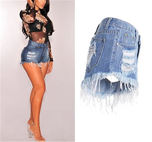 Amincissant FuweiEncore Haute Vintage Taille Shorts Trou Femme Bleu Jeans Slim Dechir zn7zgxBwq