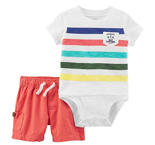 Carter's Baby Boy Official Bug Catcher Striped Bodysuit & Canvas Shorts Set (9 Months) ()