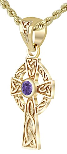 US Jewels And Gems New Small Solid 14k Yellow Gold Irish Celtic Cross Synthetic Alexandrite Pendant Necklace