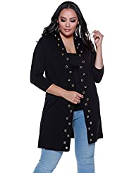 Belldini Womens Plus Size 3/4 Sleeve Open Duster with Grommets Down The Front - Viscose Spandex Jersey