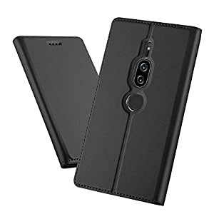 Sony Xperia XZ2 Leather Case Cover Card holder Premium Auto absorbed Quality- Black