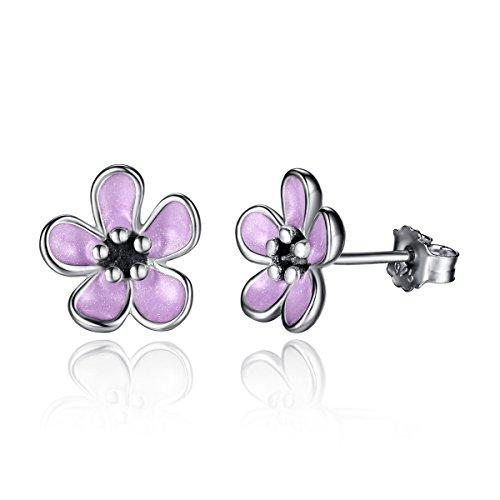 Silver Pink Enamel Ring - 6