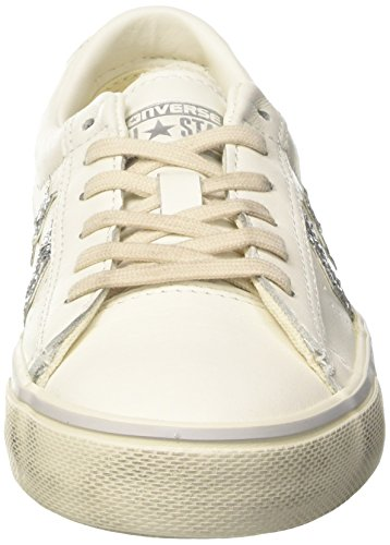 Distressed Donna Collo Basso silver White Sneaker Converse star Vulc Bianco A Pro Leather turtledove Ox zxUtgH