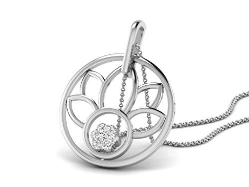 Or Blanc 14 ct Pendentifs Diamant en forme de rond, 0.1 Ct Diamant, GH-SI, 1 grammes.