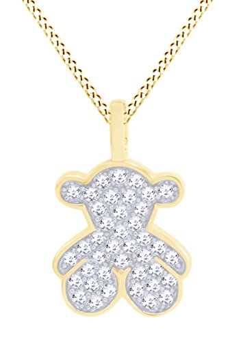 AFFY Cute Teddy Bear Cubic Zirconia Charm Pendant Necklace in 14k Yellow Gold Over Sterling Silver