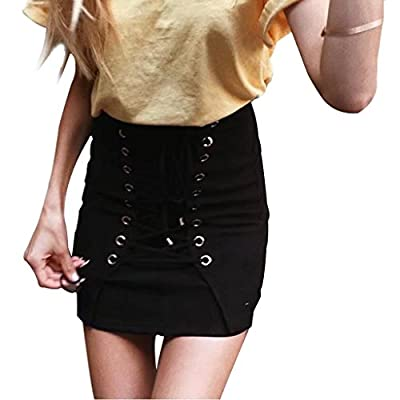 Rela Bota Women's High Waist Criss Cross Lace up Tight Bandage Suede Leather Mini Pencil Skirt